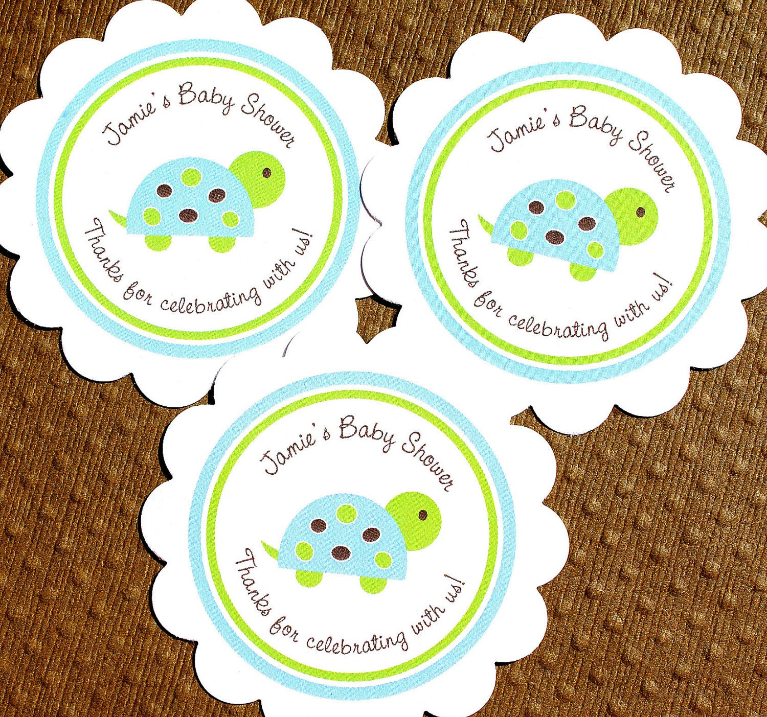 PRINTABLE Turtle Baby Shower Labels Personalized By