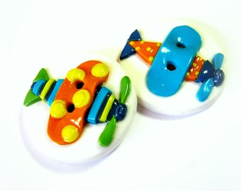 Toy Planes (set of 2 handmade buttons)