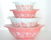 Vintage Pyrex Gooseberry Pink Cinderella Bowl Set