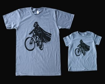 Darth Vader is riding it - Father and Son matching American Apparel t shirts ( Star Wars matching tees )