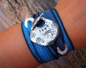 Yoga Jewelry, Yoga Bracelet, Yoga Wrap Bracelet, Yoga Silk Wrap Bracelet, STERLING SILVER Yoga Jewlery, Silver Yoga Bracelet for Yoga Lovers