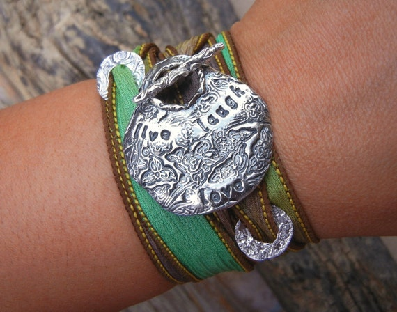 Live, Laugh, Love Silk Wrap Bracelet by HappyGoLicky Jewelry, Inspirational Jewelry Bracelet