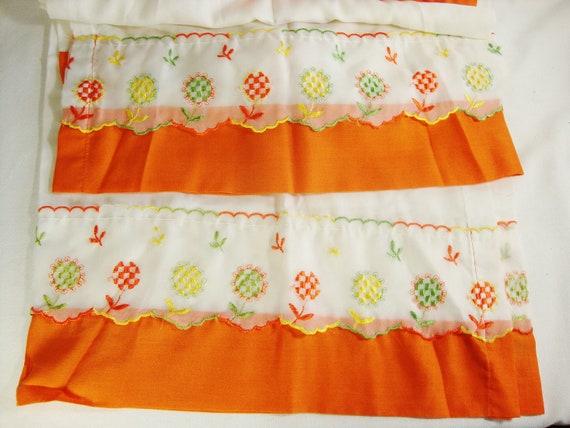 vintage kitchen curtain retro orange flowers 2 panels cotton