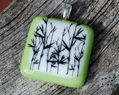 Bamboo Fused Glass Pendant Handmade Jewelry Asian Theme