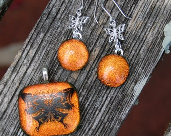 Butterfly Tangerine Orange Dichroic Pendant and Earrings Set - Fused Glass