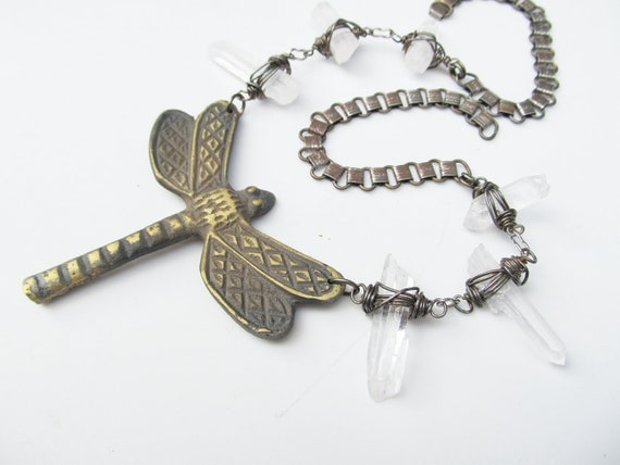 Bib Necklace Dragonfly Wire Wrap Quartz Crystal Point Silver Bookchain Rustic Jewelry Statement Necklace