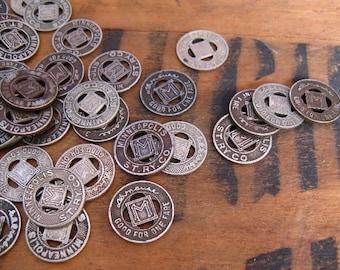 vintage tranist token - coin - Minneapolis - 10 metal tokens