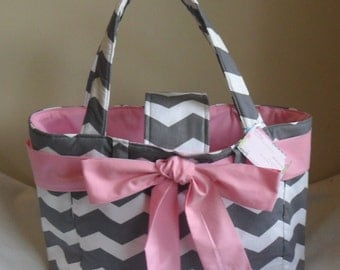 Large Gray Chevron with Pink Bow and Interior Diaper Bag Tote CHOICE OF ACCENT