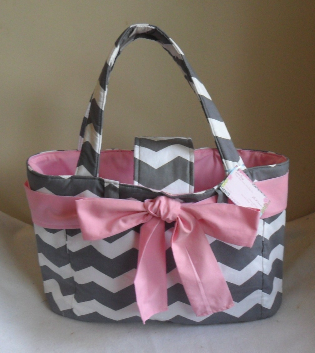 large gray chevron with pink bow and interior diaper bag tote. Black Bedroom Furniture Sets. Home Design Ideas