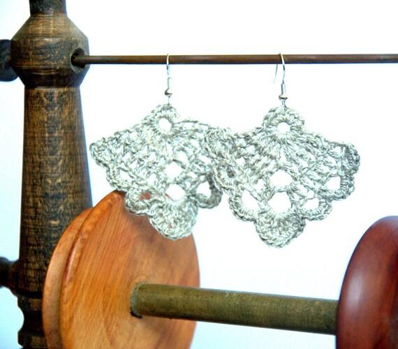 Crochet Linen earrings, dangle earrings, crochet linen grey handmade gift for her Birthday Mother's day summer autumn