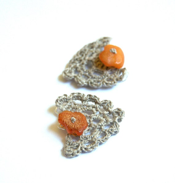 Linen dangle earrings with Baltic amber crochet natural cottage country rustic gray grey handmade Birthday summer autumn gift for her
