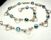 Heart Sterling Silver Necklace with gorgeous blue fire polished beads