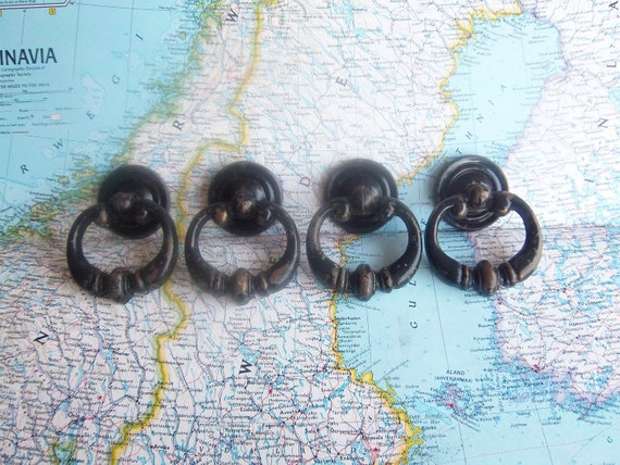 4 vintage round painted black distressed brass metal pull handles includes hardware