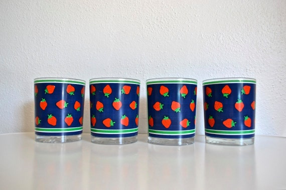 Preppy Strawberry Tumblers - Potpourri Press - Set of Four Double Old Fashioned