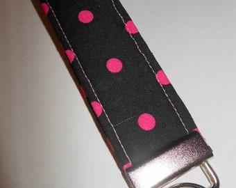 Key Fob - Wristlet Key Chain - Nickel Hardware - Polka Dot Black and Pink Cotton Print - Wristlet Key Fob