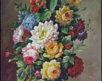 CLASSICAL FLOWERS cross stitch pattern No.687