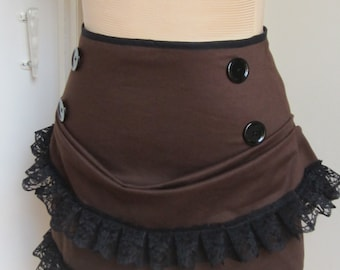 Brown steampunk mini bustle skirt made to order