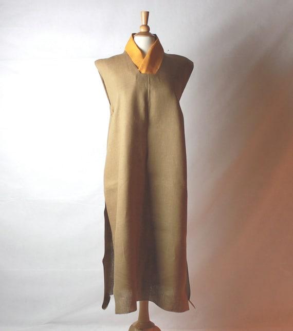 custom han collar linen dress made to measure listing