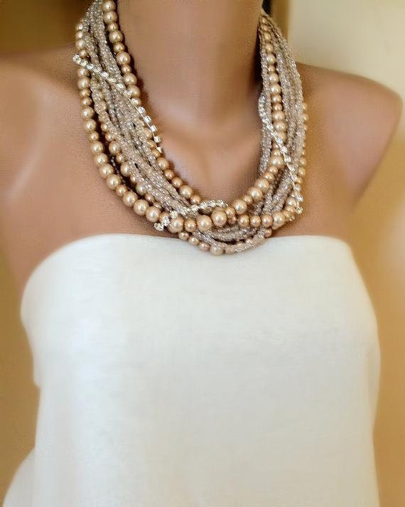 Handmade Chunky Weddings Tea Rose Pearl Necklace brides, bridesmaids gifts