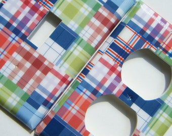 Madras Plaid Light Switch Outlet Cover Switchplate -- Blue Green Red Boy Nursery