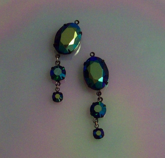 Black set vintage jet ab and emerald ab peacock or carnival glass drops or dangles