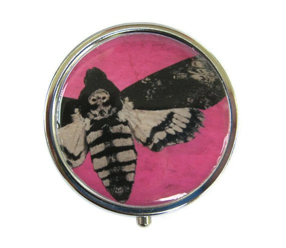 Death's Head Moth Pill Box Stash Case Silver