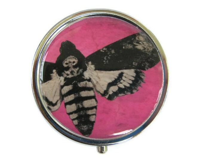 Death's Head Moth Pill Box Stash Case Silver