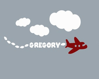Airplane Decal and Clouds Personalized Monogram Wall sticker for Baby Nursery , Kids airplane Decor