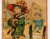 Victorian Trade Card - Fancy Lady Out For A Walk - Late 1800's