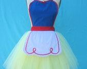SNOW WHITE apron princess apron retro Apron womens full costume tutu apron flirty pinup girl