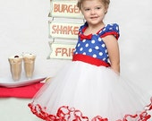 SALE MINNIE MOUSE dress tutu   Party Dress  in royal blue Polka Dots  dress 1st Birthday party 6/12m 2/3t 4/5t 6/6X