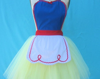 SNOW WHITE apron princess apron retro Apron womens full costume tutu apron flirty pinup girl