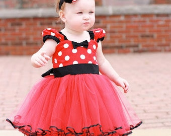 MINNIE dress TUTU  Party Dress  in Red Polka Dots super twirly  dress 1st Birthday party baby costume