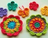 Crochet Flowers - Rainbow Garden