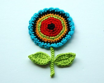 Crochet Circle Motif Flower with leaves and stem -  Retro Colours