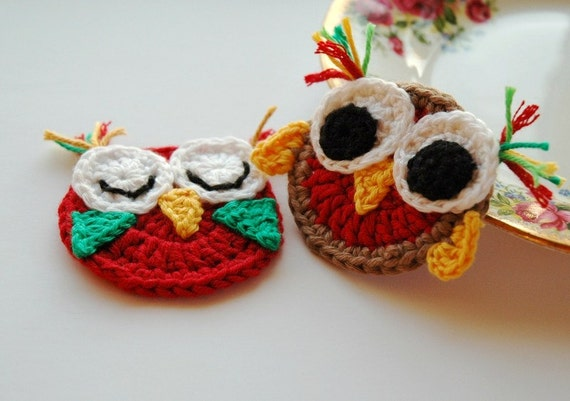 Crochet Owl Appliques in Red and Brown - Pair of Owls