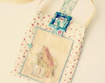 Cross Body Sling Bag Hip Bag Boho Style Fabric Collage