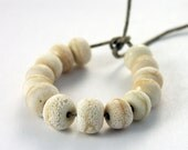 Fourteen Ivory Lampwork Organic Rock Beads Grungy Rustic