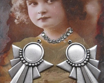Sterling Silver Ox Plated Deco Style Brass Bezel Settings 198SOX x2