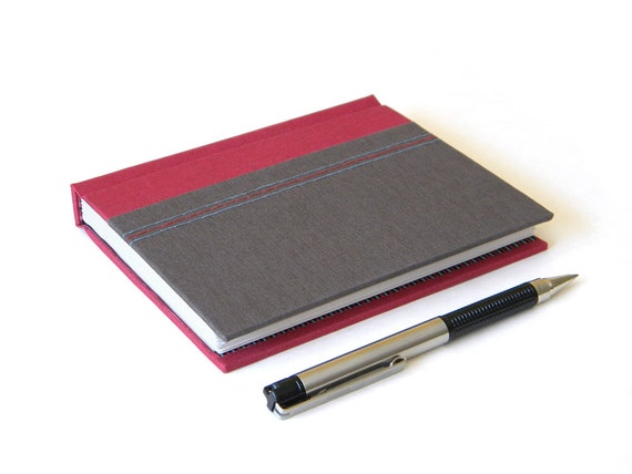 Handmade Journal - Gray and Red Striped - Gifts for Men