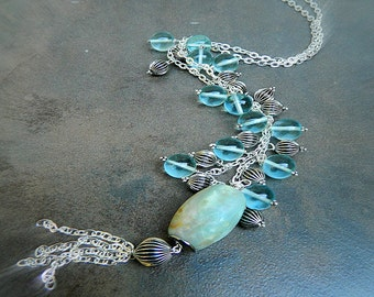 Jellyfish, Western Cowgirl Amazonite & Crystal Stone Charm Necklace