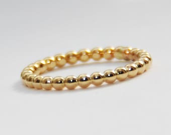 2mm BOLD Yellow Gold Filled Beaded Ring- Anniversary Ring- 14k Gold Filled Stackable Band- free domestic shipping