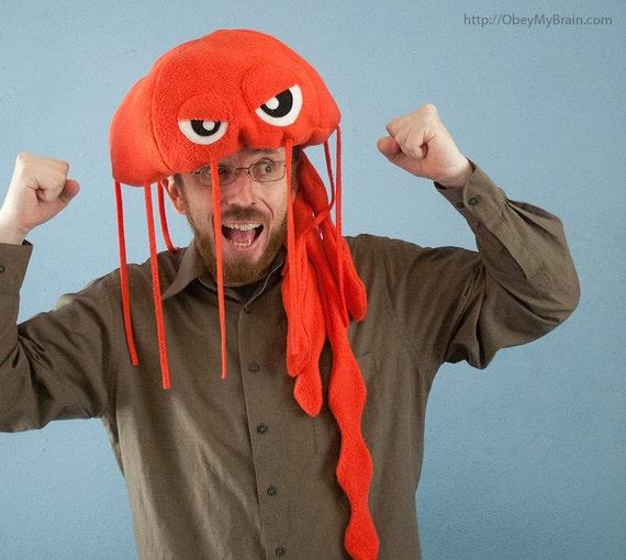 Jellyfish Hat Plush Fleece - Reddish