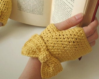 Lady Bows   Women's Handmade Fingerless Gloves with Bows in Buttercup Yellow Pima Cotton - Crochet Gloves - Ready to Ship