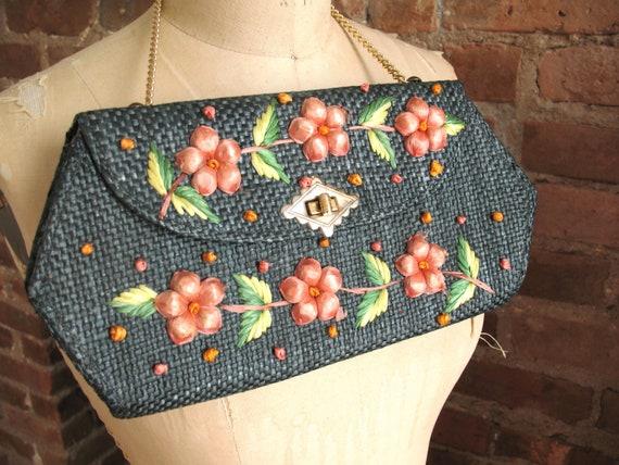 Vintage 60s Woven Straw Purse Peach Raffia Flowers Military Blue Gold Chain Envelope Handbag