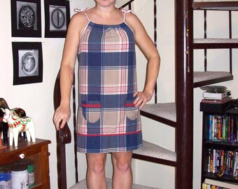 Vintage tan, navy, white, and red plaid dress - small/medium