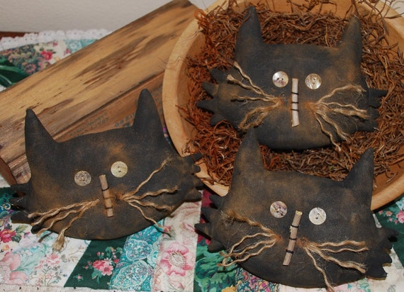Black Cat Head Tucks Primitive Ornies Halloween Bowl Fillers