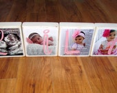 ULTRASoUND pictures on LaRGE Photo Blocks for the Mom-To-Be or BABY'S First Birthday- Photo Letter Blocks- set of four LARGE with POEM