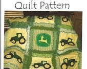 Rag Quilt Pattern, Tractor Applique, Sewing, Baby Blanket, Mailed, Hard Copy