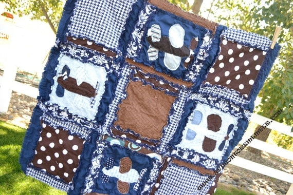 Items Similar To Rag Quilt With Vintage Airplane Quilt In Navy Blue And Brown Made